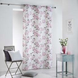 Rideau a oeillets 140 x 280 cm coton imprime ashley Rose