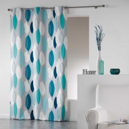 Rideau a oeillets 140 x 280 cm coton imprime leafy Bleu