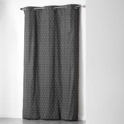 Rideau a oeillets 140 x 280 cm polycoton imprime optic Noir