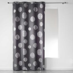 Rideau a oeillets 140 x 280 cm polyester imprime argent artifice Anthracite
