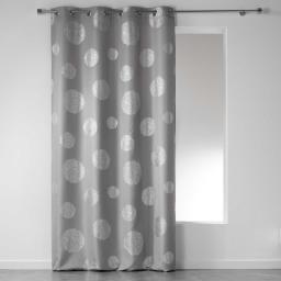 Rideau a oeillets 140 x 280 cm polyester imprime argent artifice Gris
