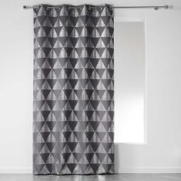Rideau a oeillets 140 x 280 cm polyester imprime argent frosty Anthracite