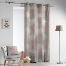 Rideau a oeillets 140 x 280 cm polyester imprime d/f energie Taupe