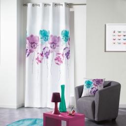 Rideau a oeillets 140 x 280 cm polyester imprime dounia Bleu