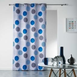 Rideau a oeillets 140 x 280 cm polyester imprime odaly Bleu
