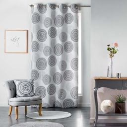 Rideau a oeillets 140 x 280 cm polyester imprime romana Noir/Blanc