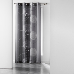 Rideau a oeillets 140 x 280 cm polyester imprime spirale Anthracite
