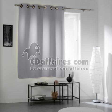 Rideau a oeillets carres 140 x 180 cm occultant uni cocoon Gris clair