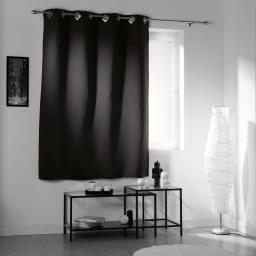 Rideau a oeillets carres 140 x 180 cm occultant uni cocoon Noir