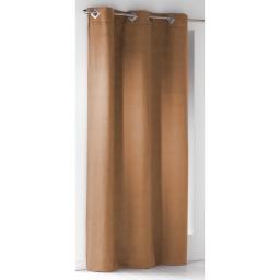 Rideau a oeillets carres 140 x 240 cm suede uni suedine Fauve
