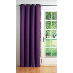 Rideau a oeillets carres 140 x 260 cm occultant uni cocoon Prune