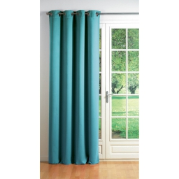 Rideau a oeillets carres 140 x 260 cm occultant uni cocoon Turquoise