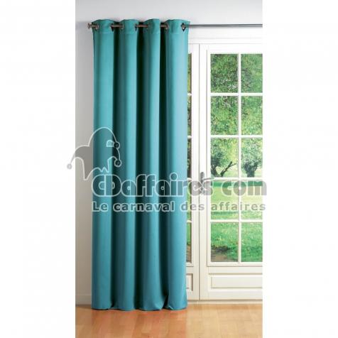 Rideau a oeillets carres 140 x 260 cm occultant uni cocoon Turquoise