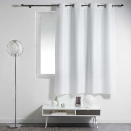 Rideau a oeillets metal 140 x 180 cm polyester uni essentiel Blanc