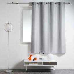 Rideau a oeillets metal 140 x 180 cm polyester uni essentiel Gris