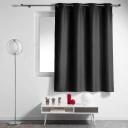 Rideau a oeillets metal 140 x 180 cm polyester uni essentiel Noir