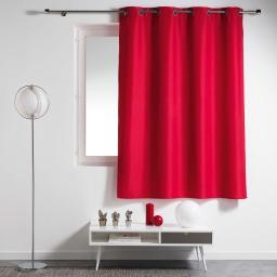 Rideau a oeillets metal 140 x 180 cm polyester uni essentiel Rouge
