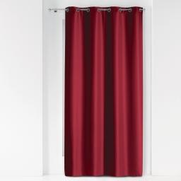 Rideau a oeillets metal 140 x 260 cm polyester uni essentiel Bordeaux