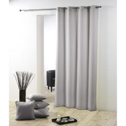 Rideau a oeillets metal 140 x 260 cm polyester uni essentiel Gris