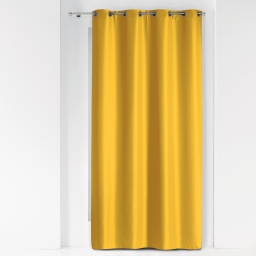 Rideau a oeillets metal 140 x 260 cm polyester uni essentiel Miel