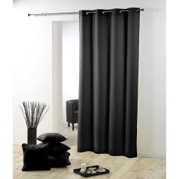 Rideau a oeillets metal 140 x 260 cm polyester uni essentiel Noir