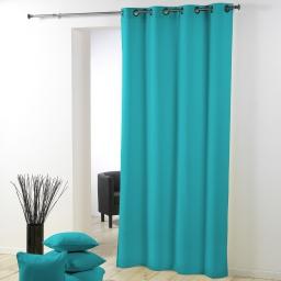 Rideau a oeillets metal 140 x 280 cm polyester uni essentiel Bleu