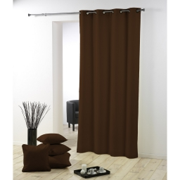 Rideau a oeillets metal 140 x 280 cm polyester uni essentiel Chocolat