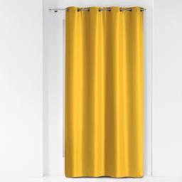 Rideau a oeillets metal 140 x 280 cm polyester uni essentiel Miel