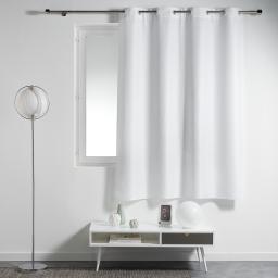Rideau a oeillets plastique 140 x 180 cm polyester uni essentiel Blanc