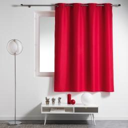 Rideau a oeillets plastique 140 x 180 cm polyester uni essentiel Rouge