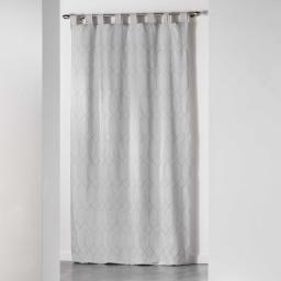 Rideau a passants 140 x 260 cm jacquard bicolore monalise Gris