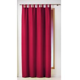 Rideau a passants 140 x 260 cm polyester uni essentiel Rouge