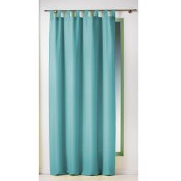 Rideau a passants 140 x 260 cm polyester uni essentiel Turquoise