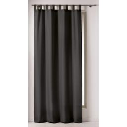 Rideau a passants 140 x 260 cm polyester uni punchy Noir