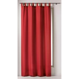 Rideau a passants 140 x 260 cm polyester uni punchy Rouge