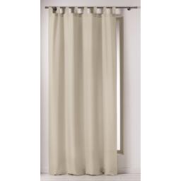 Rideau a passants 140 x 260 cm polyester uni punchy Sable