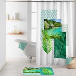 rideau de douche avec crochets 180 x 200 cm polyester imp. copacabana des. place