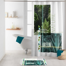 rideau de douche avec crochets 180 x 200 cm polyester imp green nature des place