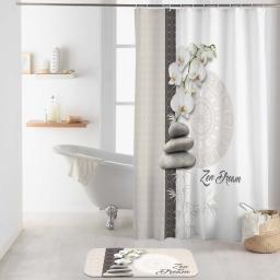 rideau de douche avec crochets 180 x 200 cm polyester imp. orchizen des. place