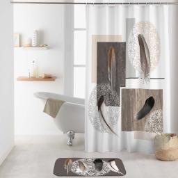 rideau de douche avec crochets 180 x 200 cm polyester imprime abana des. place