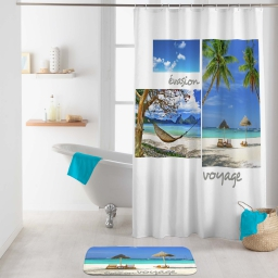rideau de douche avec crochets 180 x 200 cm polyester imprime cancun des. place
