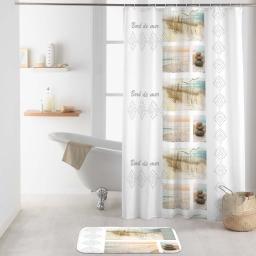 rideau de douche avec crochets 180 x 200 cm polyester imprime palavas
