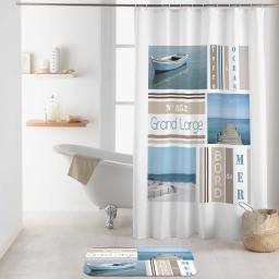 rideau de douche avec crochets 180 x 200 cm polyester imprime royan des. place