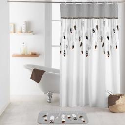 rideau de douche avec crochets 180 x 200 cm polyester imprime tallulah