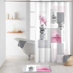 rideau de douche avec crochets 180 x 200 cm polyester imprime zenitude des place