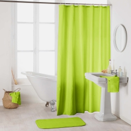 Rideau de douche avec crochets 180 x 200 cm polyester uni essencia Anis