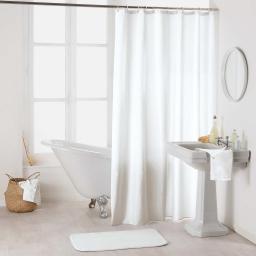Rideau de douche avec crochets 180 x 200 cm polyester uni essencia Blanc