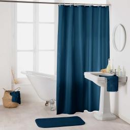 Rideau de douche avec crochets 180 x 200 cm polyester uni essencia Bleu nuit