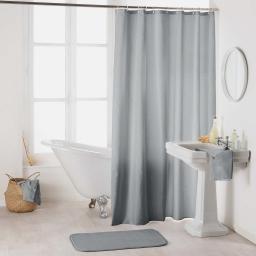 Rideau de douche avec crochets 180 x 200 cm polyester uni essencia Gris
