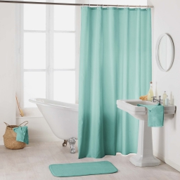 Rideau de douche avec crochets 180 x 200 cm polyester uni essencia Menthe